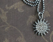 ON SALE Pave Diamond SUN Charm, 18 inch, Sterling Silver ,Genuine Diamond, Necklace, Beaded Chain