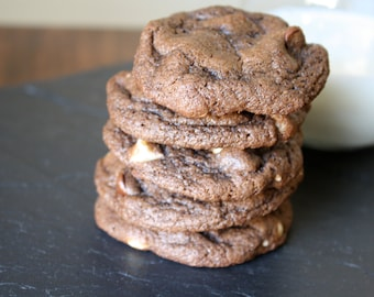 Triple Chocolate Chip Cookies, homemade baked goods, homemade cookies