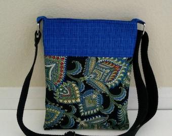 Paisley Crossbody Bag, Blue Crossbody Bag, Blue Cross body Bag, Crossbody purse, Fabric Crossbody bag