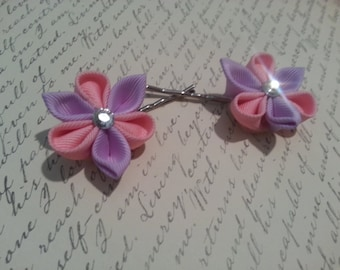 Pink and lavender Kanzashi flower bobby pins