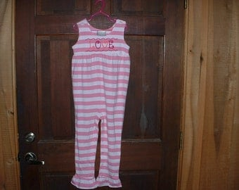 Pink Striped Long Girl's Embroidered Sleeveless Romper--4T--LOVE