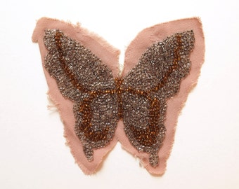 Vintage Beaded Butterfly Appliqué in Silver and Bronze