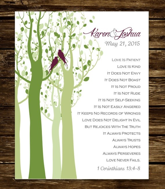 1 Corinthians 13 Wedding Invitations: 1 Corinthians 13 Wedding Gift Personalized Print Love Is