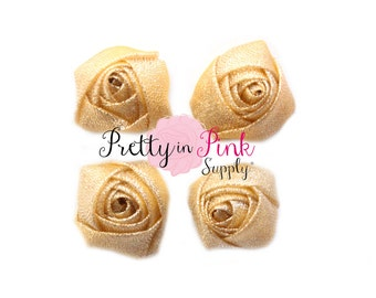 "SPARKLE GOLD Rolled Rosettes...You Choose Quantity...Rolled Rosettes...Mini Rolled Rosettes...1.5"" Rosettes"