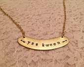 Broad City Inspired Yas Kween Necklace, Yas Queen Necklace, Brass Name Plate Queen Necklace