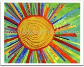 "Sun art, Giclee print 8 x 10"" collage, Print of acrylic sun painting, Kitchen art, Bright colored sun, Whimsical sun, Colorful nursery art"