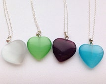 Coloured white, green, purple, blue heart pendant necklace with sterling silver chain - beautiful gift or bridesmaid wedding necklace