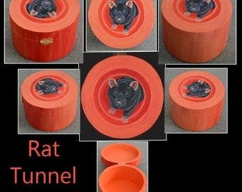 Rat Tunnel Box - OOAK - SALE - Black Top Eared Fancy Rat in Orange Tunnel - Gift Idea, Trinket Box, Jewellery Box, Memory Box etc