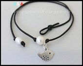 LEATHER Pearl Choker - ADD a Dangle Charm to your Freshwater pearl Leather Choker Necklace - Dove Love Bird / Starfish / More CHARMS - Usa