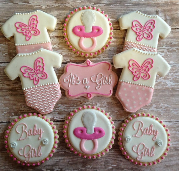 it 39 s a girl baby shower cookies by sweetcbakeshop on etsy