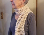 White crochet fashion scarf, off-white crochet lace sacrf.