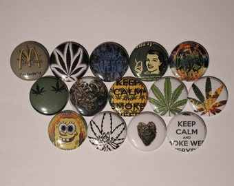 15 I love Weed Flatback or Pinback buttons 1 inch