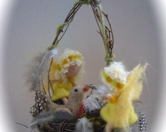 Spring nest fairy,eggs and birds.Waldorf,Felted.Easter,Egg,Bird,Nest