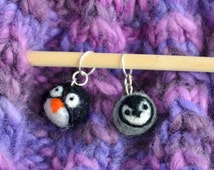 Needle felted penguin stitch markers- charms (set of 2)