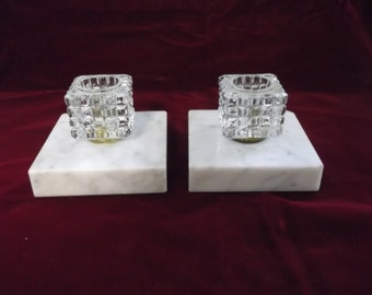 Marble and Crystal Candle Holders