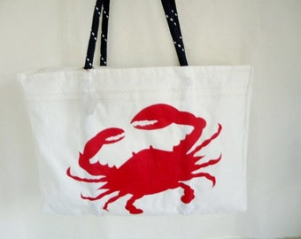 SailAgainBags Maryland Red Crab Zippered Top XLG recycled sail cloth bag