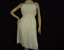 Vintage Full Slip 1970s Nightgown Sheer Beige Antron Nylon 36 Gathered Bodice Nos