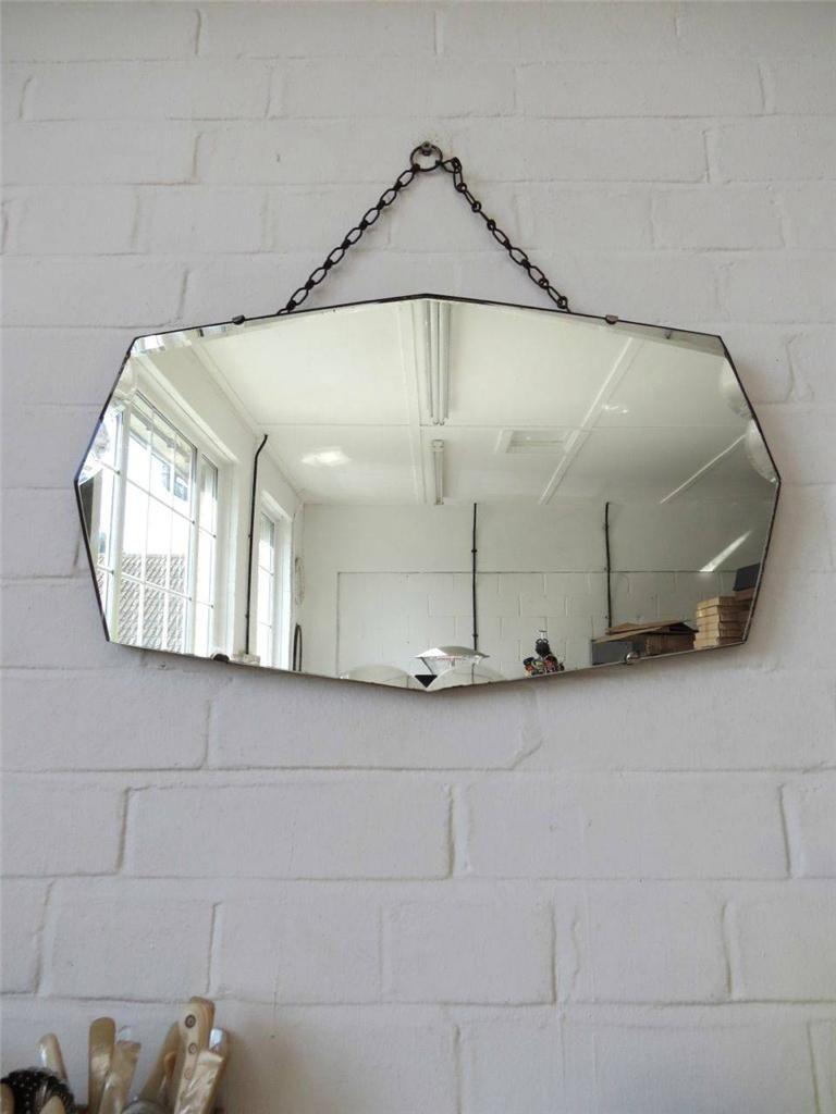 Vintage art deco bord biseaut miroir au mur avec les d tails for Miroir 220 review