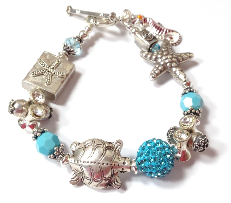 Sea Turtle Bracelet, Beach Bracelet, Starfish Bracelet, Beach Charm Bracelet, Seahorse Charm, Silver Sea Turtle Charm, Beach Jewelry,