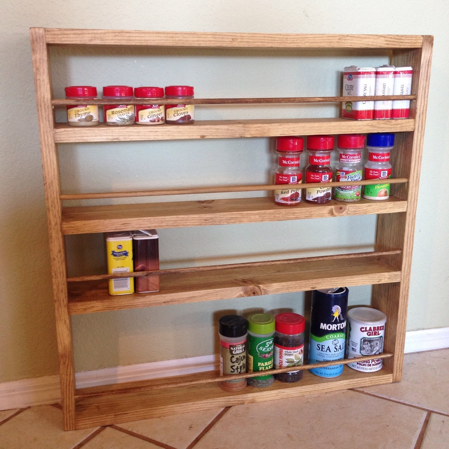 Handmade Spice Rack: 18 X 18 Rustic Spice Rack With Wooden Dowels By Nidify On Etsy