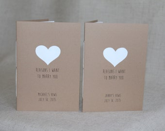 Personalized Reasons I Want To Marry You Vow Booklets With Handpainted Heart