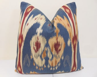 Blue, Burgundy, Gold and Ivory IkatPillow Cover- Blue Ikat Cushion- Ikat Sofa Pillow - 18 x 18, 20 x 20,22 x 22
