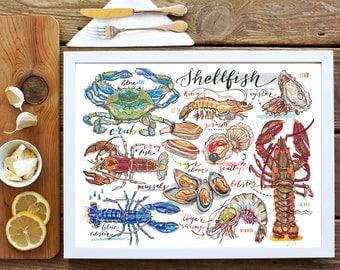 Shellfish print. Seafood illustration. Lobster. Crab. Oyster. Shrimp. Ocean. Crustaceans. Molluscs. Fish. Kitchen decor. Food art.