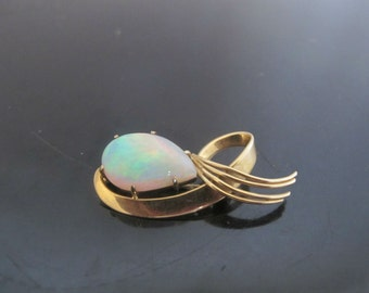 Exceptional Large Fire Teardrop Opal 18k Yellow Gold Brooch