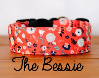 """Coral Floral Vintage Inspired Dog Collar """"The Bessie"""""""