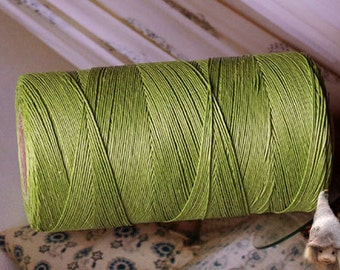 Linen Threads 0,4 mm Linen Yarn Green Spool 200 m / 222 yards 3 ply for Jewellery Embroidery Lace