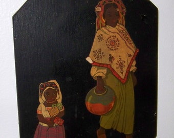 Mexican Wooden Plaque Mexican Woman Southwest Wall Plaque