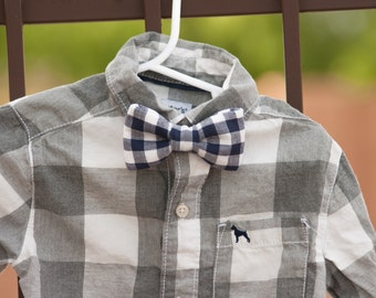 Gingham Bow Tie--Navy Blue Bow Tie--Newborn-Toddler-Kids-Youth/Clip On Bow Tie--Spring Bow Tie