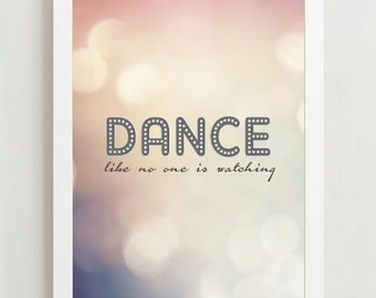 Illustration Poster Print  'Dance like no one is watching' A4 or A3