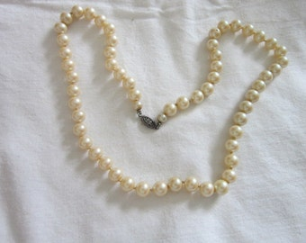 Antique Beautiful Glass Pearl Necklace with Sterling Silver Clasp