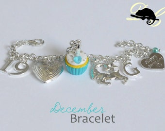 Your DECEMBER Birthday Bracelet - Cupcake with candle, birthstone,letter,locket, and zodiac charm - Personalised (In Stock)