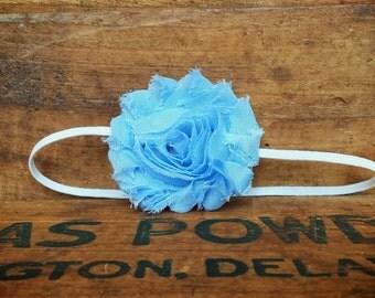 Powder Blue Shabby Flower Headband, photo prop, Newborn, toddler, adult