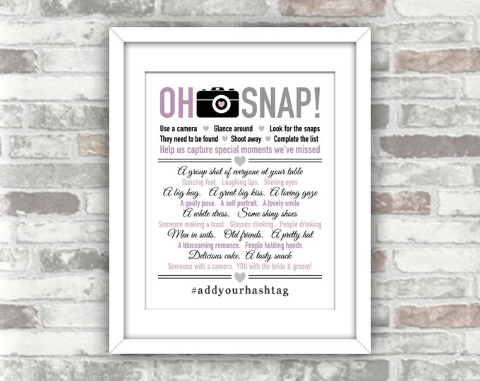PRINTABLE Oh Snap I Spy Wedding List Photo Game - Personalised with your hashtag - Lavender, lilac, blush purple - Digital Art Print File