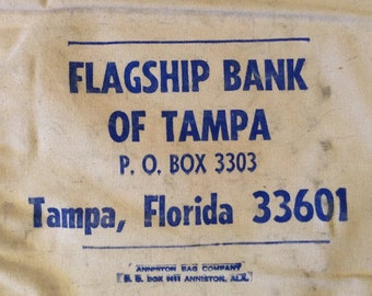 Vintage Bank Bag, Flagship Bank Of Tampa Florida. Heavy Duty Canvas,