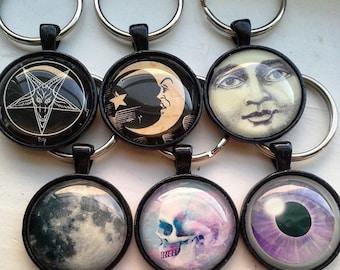 Keyring - Misc // Baphomet // Ouija Moon // Moon Man // Moon // Pastel Skull // Purple Eyeball