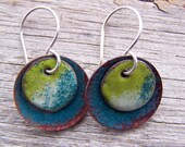 Copper Enamel Torch Fired Earrings Teal Green, Rust, Lichen Green and Apple Green