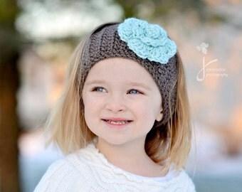 Head Warmer Crochet, Child Head Warmer, Taupe Head Warmer, Baby Head Warmer with Flower, Ear Warmer with Flower