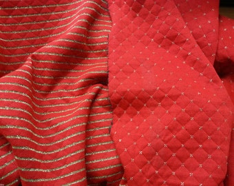 Red & Gold  Reversible Fabric By Yard Double Knit Acrylic Yarn Dye Stripe / Diamond (Christmas Sweater Sock Stuffing)