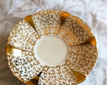 Queen Anne Bone China England Gold Lace Saucer Replacement