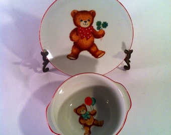 Reutter Porzellan Teddy Bear Child's Bowl and Plate - West Germany