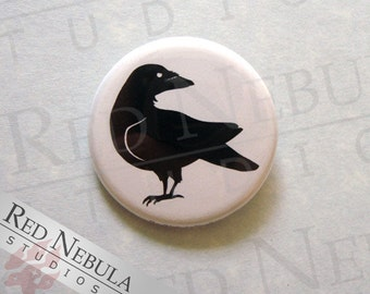 Raven Pinback Button, Magnet, or Keychain, Creepy Bird Pin, Raven Silhouette, Black Bird Pin, Black Raven Button, Black Crow Pin Button