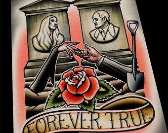 Forever True Adams Family Morticia GomezTattoo Flash