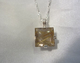 Square Natural Rutilated Quartz Pendant