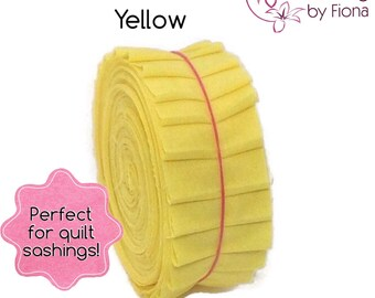 "20 x 1.5"" Yellow PreCut Honey Bun Fabric Strips, 1.5 inch x WOF, die cut"