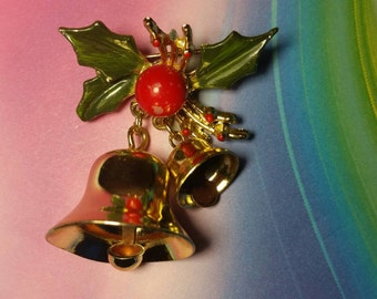 Vintage christmas bell brooch pin costume jewelry
