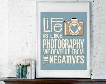 Life is Like Photography, Camera Print, Camera Decor, Photography Print, Photography Quote, Photography Poster, Inspirational Quote